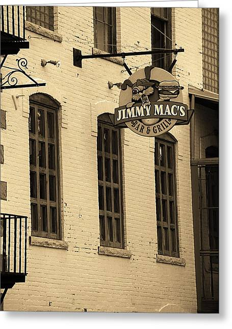 Greeting Card featuring the photograph Rochester, New York - Jimmy Mac's Bar 3 Sepia by Frank Romeo