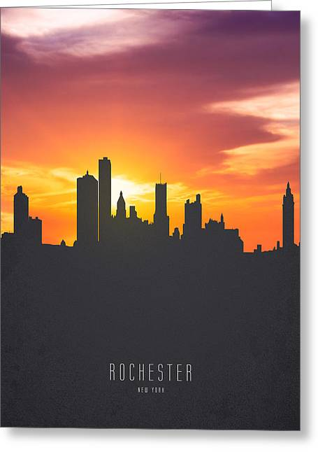 Rochester New York Sunset Skyline 01 Greeting Card by Aged Pixel