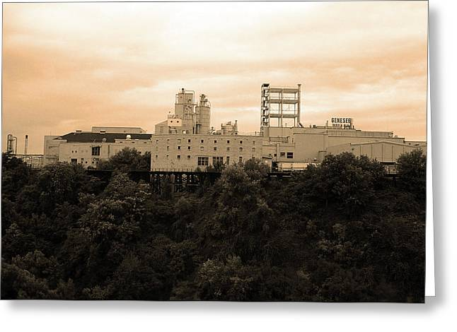 Greeting Card featuring the photograph Rochester, Ny - Factory On A Hill Sepia by Frank Romeo