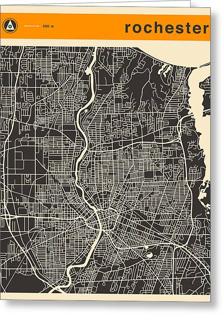 Rochester Ny Map Greeting Card
