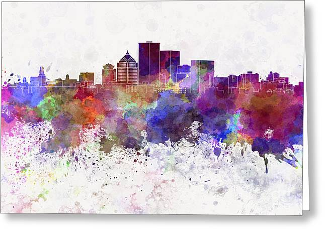 Rochester Ny Skyline In Watercolor Background Greeting Card