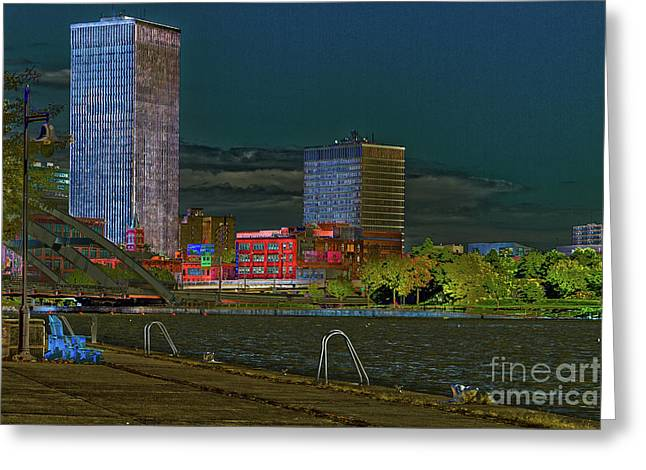 Rochester Riverfront At Night Greeting Card by William Norton