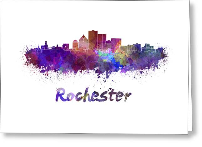 Rochester Skyline In Watercolor Greeting Card by Pablo Romero
