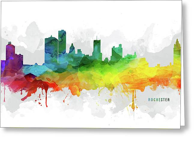 Rochester Skyline Mmr-usnyro05 Greeting Card by Aged Pixel