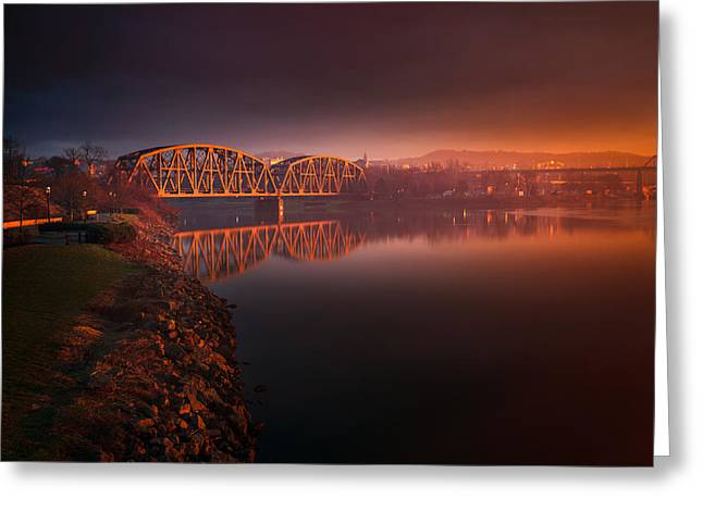 Rochester Train Bridge  Greeting Card by Emmanuel Panagiotakis