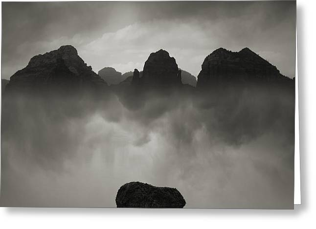 Rock And Peaks Greeting Card by Dave Gordon