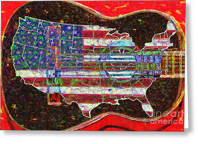 Rock And Roll America 20130123 Red Greeting Card by Wingsdomain Art and Photography