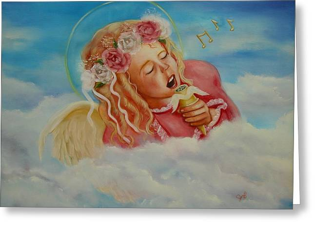 Greeting Card featuring the painting Rock And Roll Angel by Joni McPherson