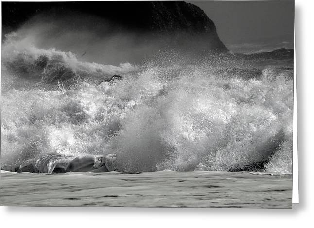 Rock And Roll Black Sand Beach Iceland Greeting Card