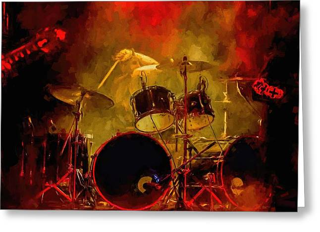 Rock And Roll Drum Solo Greeting Card by Louis Ferreira