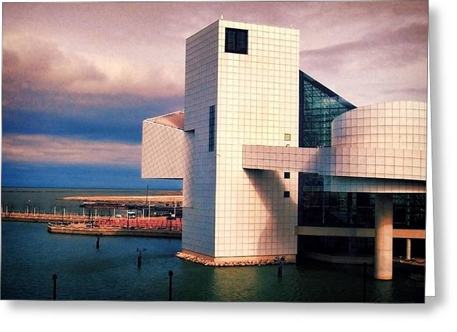 Rock And Roll Hall Of Fame Greeting Card by Shawna Rowe