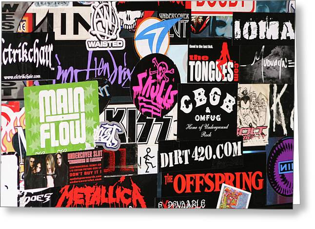 Rock And Roll Stickers Greeting Card