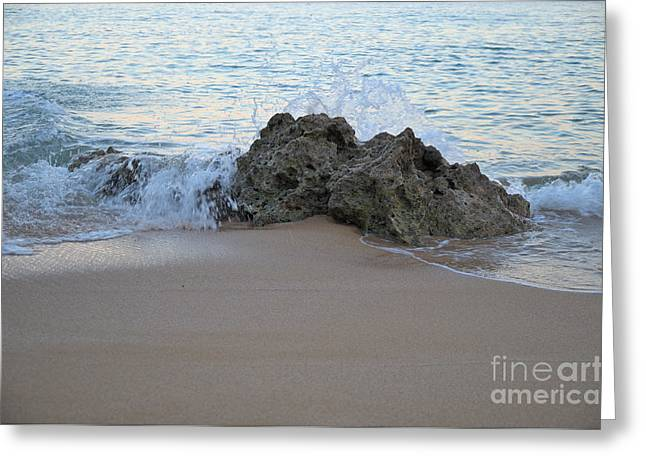 Rock And Waves In Albandeira Beach Greeting Card