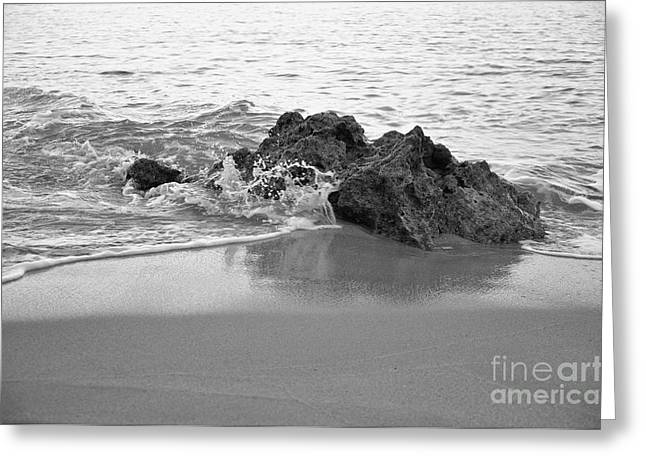 Rock And Waves In Albandeira Beach. Monochrome Greeting Card by Angelo DeVal