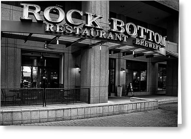 Rock Bottom Restaurant And Brewery In Black And White Greeting Card