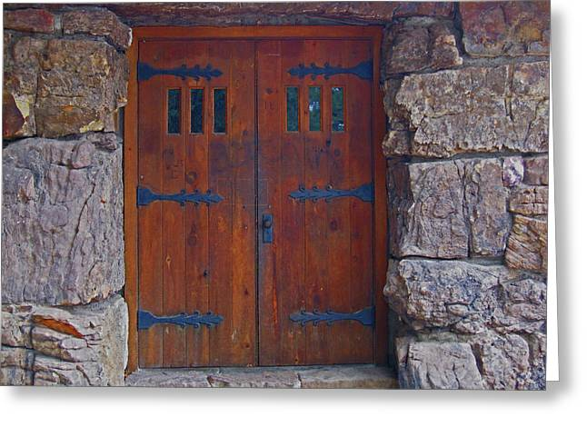 Greeting Card featuring the photograph Rock Building Doors by Tammy Sutherland
