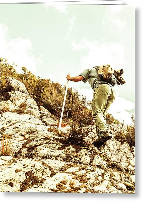 Rock Climbing Mountaineer Greeting Card by Jorgo Photography - Wall Art Gallery