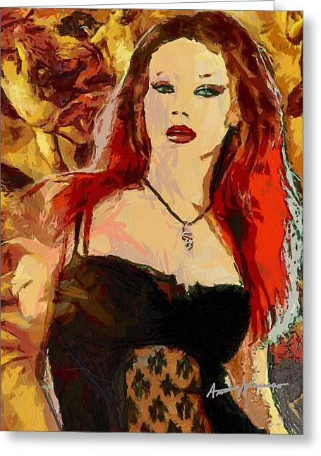 Rock Diva Greeting Card by Anthony Caruso