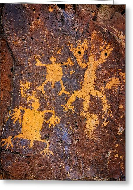 Rock Drawings At La Cieneguilla Petroglyph Site Greeting Card