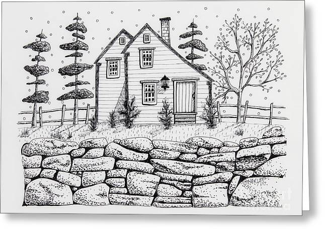 Rock Fence Greeting Card by Karla Gerard