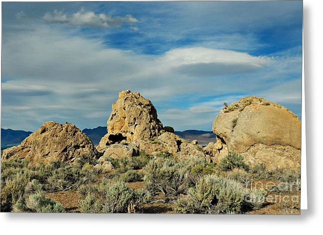 Greeting Card featuring the photograph Rock Formations At Pyramid Lake by Benanne Stiens
