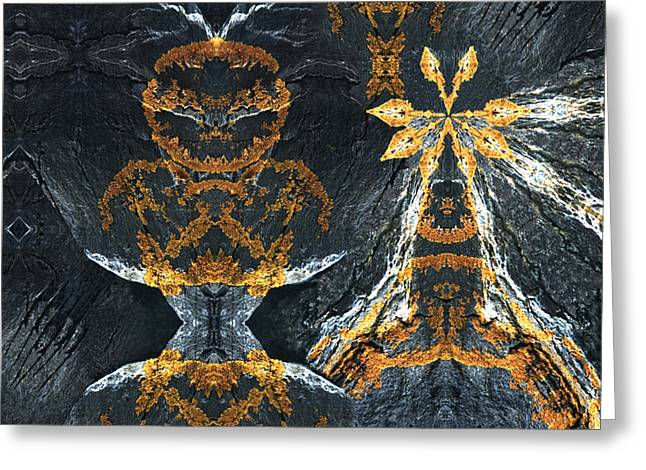 Greeting Card featuring the digital art Rock Gods Lichen Lady And Lords by Nancy Griswold