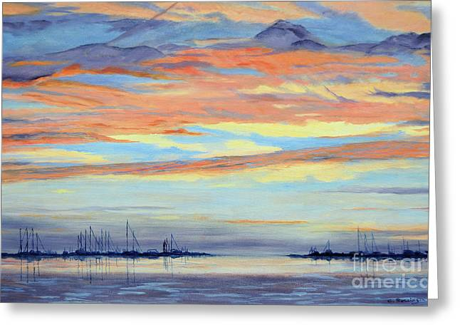 Rock Hall Sunset Greeting Card by Cindy Roesinger