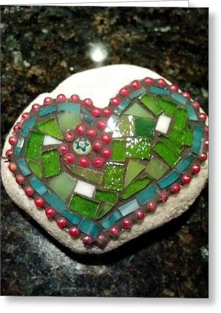 Rock Heart Green Greeting Card