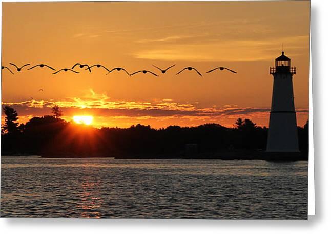 Rock Island Lighthouse Greeting Card by Lori Deiter