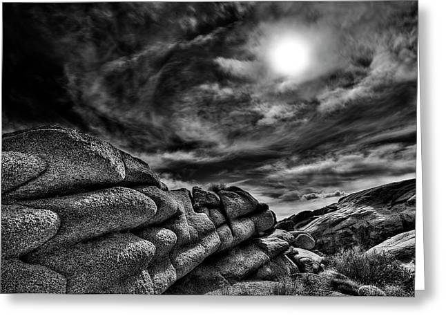 Rock Ledge With Swirling Sky Greeting Card by Gary Zuercher