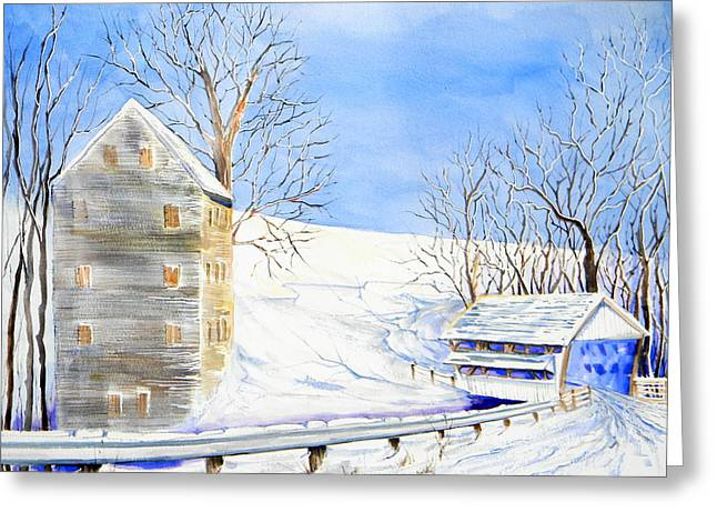 Old Mill Scenes Paintings Greeting Cards - Rock Mill in Winter Greeting Card by Lisa Schorr