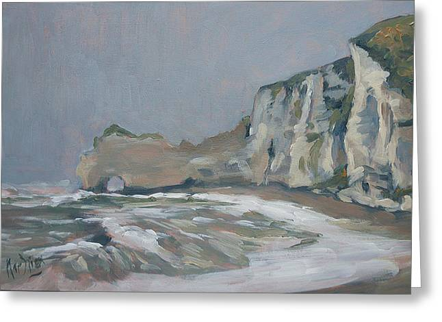 Rock Of Amont Etretat After The Rain Greeting Card