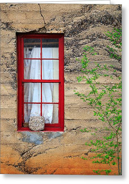 Greeting Card featuring the photograph Rock On A Red Window by James Eddy