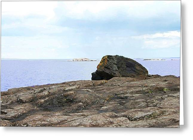 Rock On Black Rocks Greeting Card by Kendall Tabor