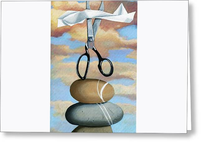 Greeting Card featuring the painting Rock, Paper, Scissors by Linda Apple
