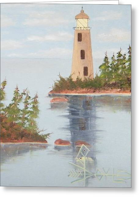 Rock Passage Route Lighthouse Greeting Card by Larry Doyle