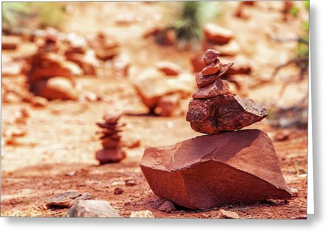 Rock Pile At Vortex In Sedona Arizona Greeting Card by Susan Schmitz