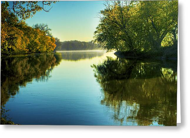 Rock River Autumn Morning Greeting Card