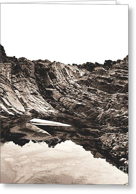Greeting Card featuring the photograph Rock - Sepia Detail by Rebecca Harman