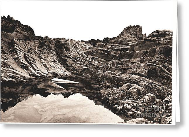 Greeting Card featuring the photograph Rock - Sepia by Rebecca Harman
