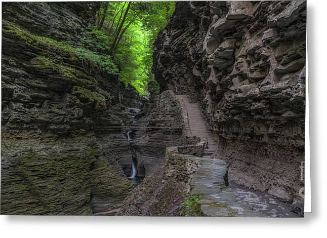 Rock Stairs Panorama  Greeting Card by Michael Ver Sprill