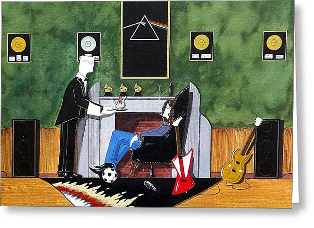 Rock Star Sitting In Chair Served A Sundae By Butler Greeting Card by John Lyes