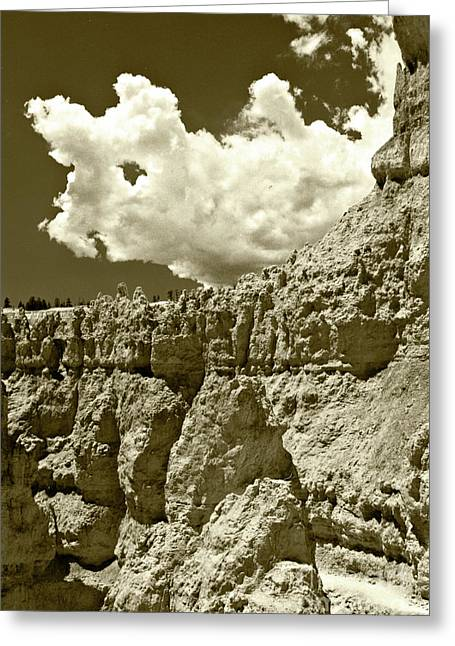 Greeting Card featuring the photograph Rock Wall And Sky by Pete Hellmann