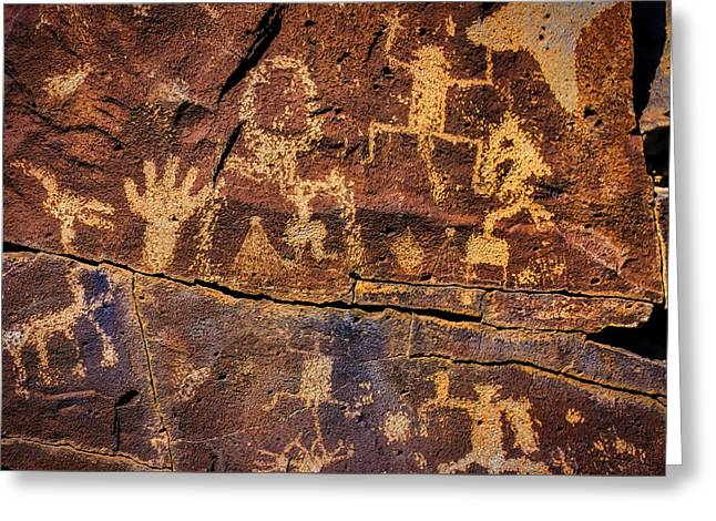 Rock Wall Of Petroglyphs Greeting Card