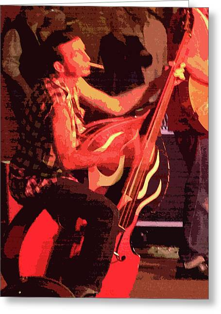 Rockabilly Bass Player Greeting Card by Andy Jeter