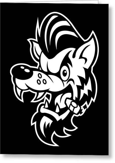 Rockabilly Wolf Head Greeting Card