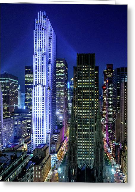 Rockefeller At Night Greeting Card