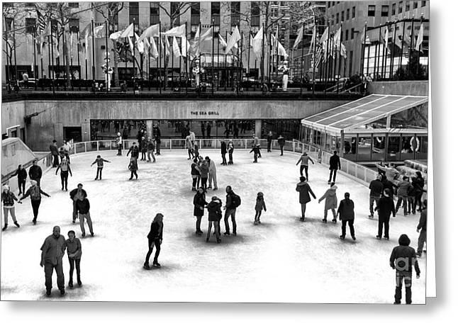 Rockefeller Center Ice Skating Greeting Card by John Rizzuto