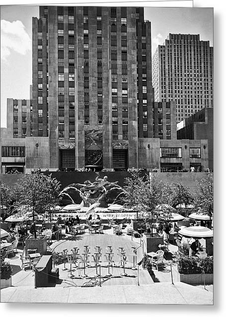 Rockefeller Center Plaza Greeting Card by Underwood Archives