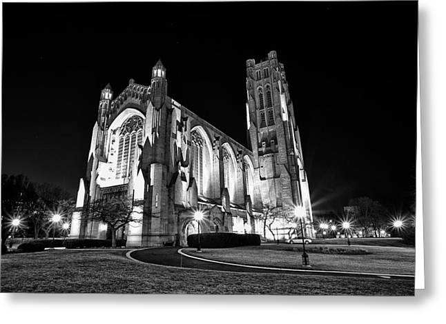 Cj Schmit Greeting Cards - Rockefeller Chapel - B and W Greeting Card by CJ Schmit